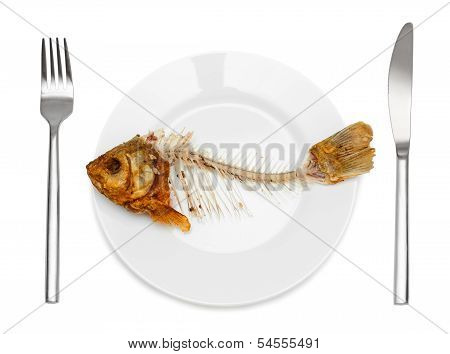 Fish Skeleton On The Plate