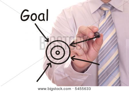 Businessman Drawing Goal Word