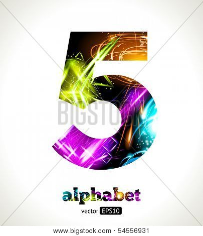 Vector Customizable Light Effect Alphabet. Design Abstract figure 5.
