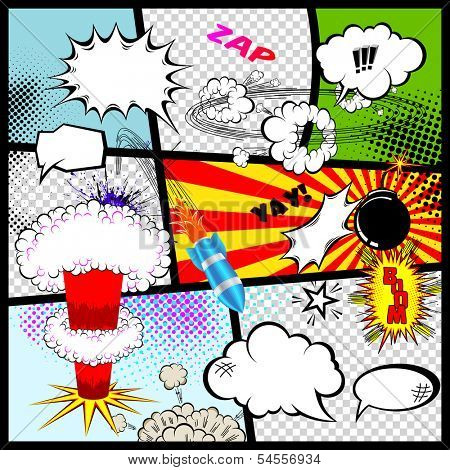 Retro Comic Book Speech Bubbles. Vector Design Elements.