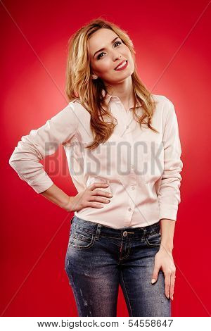 Beautiful Blonde Wearing Jeans And Shirt