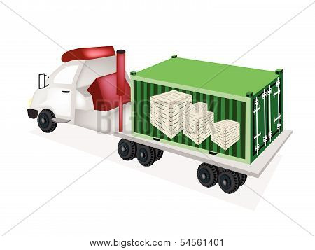 Flatbed Trailer Loading Wooden Crates In Cargo Container