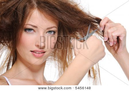 Young Woman Cutting Her Hair