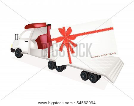 Tractor Trailer Flatbed Sending A New Year Card