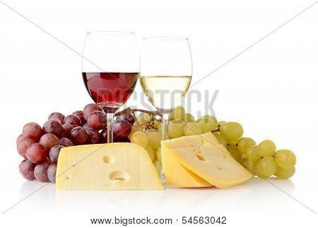 Wine And Grapes Isolated On White With Cheese