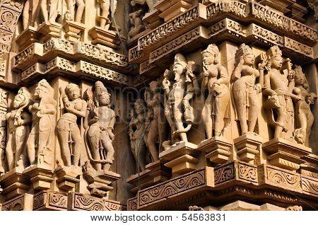 Human Sculptures Of Vishvaanatha Temple, Khajuraho, India, Unesco Site.