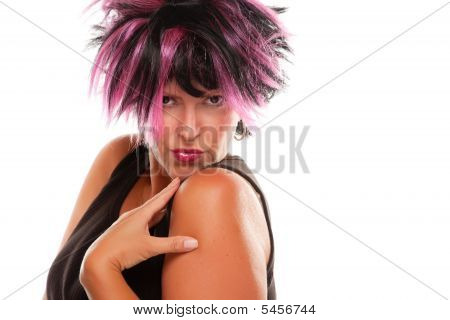 Pink And Black Haired Girl Portrait