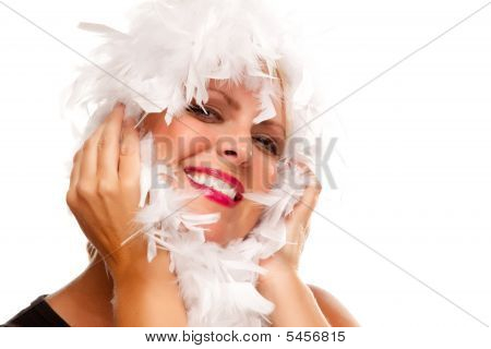 Pretty Girl With White Boa