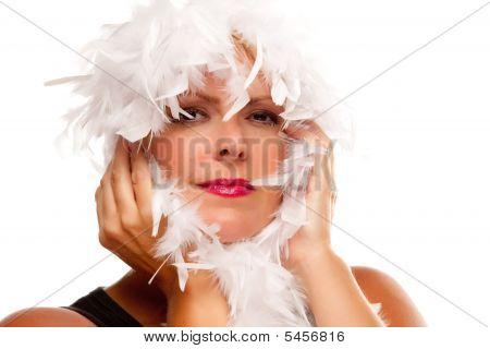 Pretty Girl With White Boa