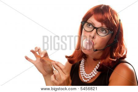 Red Haired Retro Receptionist