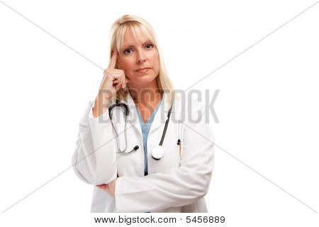 Serious Female Blonde Doctor