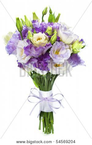 Beautiful eustoma flowers  bouquet (wedding or romantic date concept )