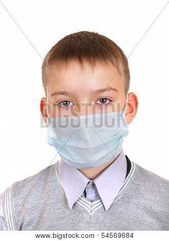 Sick Boy In Flu Mask