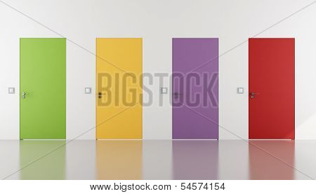 Portas colorido nivelada com a parede