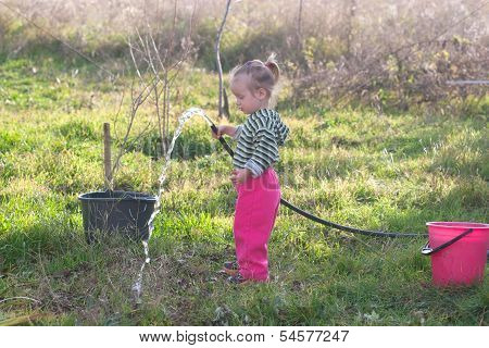 Little Girl With Hose