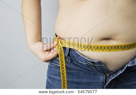 Obese Woman Measuring Her Waist