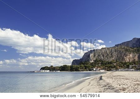 Mondello beach, east side view. Palermo, Sicily.