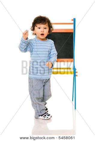 Little Boy With Chalkboard.