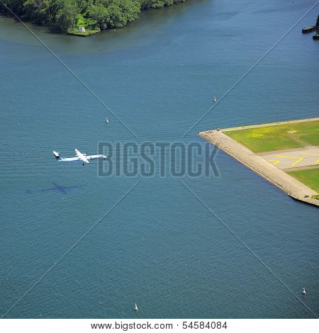 Landing of the plane.