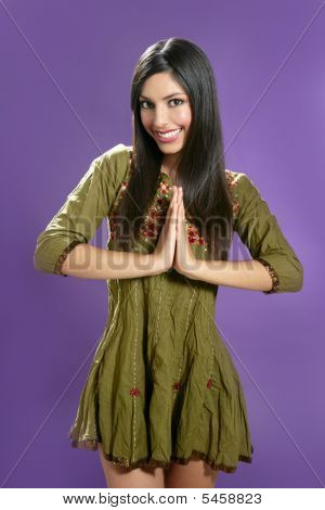 Beautiful Indian Young Brunette Woman Posing Hands