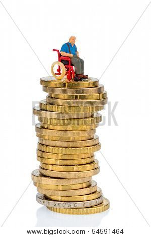 woman in wheelchair on money stack, symbol photo for care allowance, health care costs