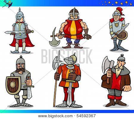 Cartoon Fantasy Knights Characters Set