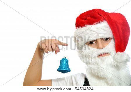 Little Boy In Santa Red Hat
