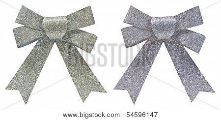 Two Silver Glitter Decorative Bows
