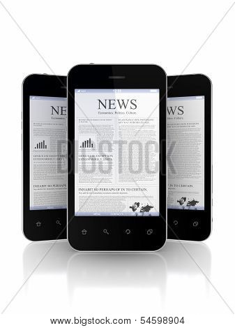 Mobile phones with newspaper on a screen.