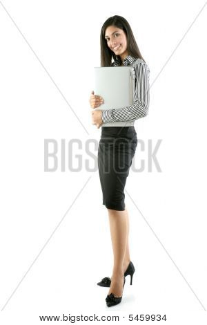 Brunette Woman Hug Laptop Computer