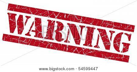 Warning Red Grunge Stamp