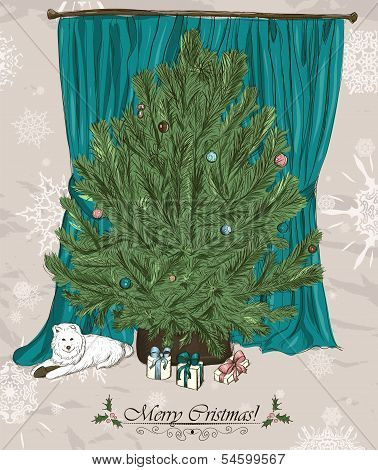 Vintage Christmas card with Christmas tree.