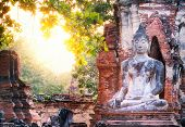 Buddha and sun light at Wat Mahathat, Ayutthaya, Thailand. Ancient stone sculpture in Asia. Famous travel destination  poster