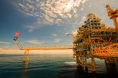 picture of offshoring  - Oil and gas platform in offshore or Offshore construction - JPG
