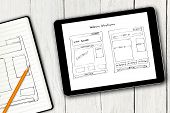 image of sketche  - website wireframe sketch on digital tablet screen - JPG