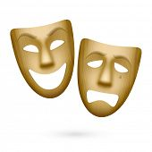 Wooden comedy and tragedy theatrical masks. Vector.