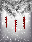 pic of teardrop  - Silver fir branches decorated with 3 red teardrops on silver background with falling snow Christmas illustration - JPG