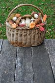 Wild Mushrooms In A A Wicker Basket