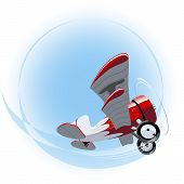 stock photo of biplane  - Vector Cartoon Biplane - JPG