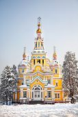 picture of ascension  - The Ascension Cathedral or Zenkov cathedral in winter time in Almaty Kazakhstan - JPG