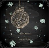 pic of taper  - Christmas Hand Drawn Ball with Snowflakes for Xmas design - JPG