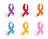 image of leukemia  - Vector illustration of a set of of awareness ribbons - JPG