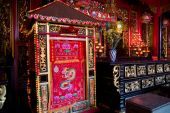 picture of cho-cho  - Interior of Hoi Quan Ha Chuong a Chinese temple in Cho Lon the Chinatown of Ho Chi Minh City in Vietnam - JPG