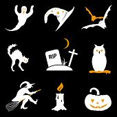 Halloween black and orange vector icon set