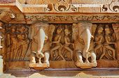 stock photo of khajuraho  - Human Sculptures at wall of Western temples of Khajuraho  - JPG