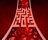 stock photo of cell block  - Blood circultation problems and blocked arteries health care concept with a human artery that has a blockage shaped as a maze or labyrinth as a metaphor for the medical challenges of poor blood cell flow and circulatory illness - JPG