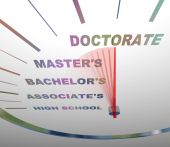 stock photo of higher power  - A speedometer shows the various levels of college degrees - JPG