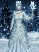 picture of snow queen  - Snow Queen on the background of the winter forest - JPG