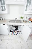 foto of clog  - Kitchen sink pipes and drain - JPG