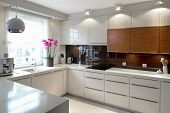 stock photo of work bench  - Clean modern kitchen - JPG